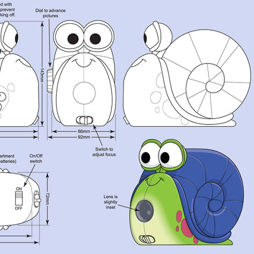 Final design and turnaround views by Cedric Hohnstadt for a snail projector toy. Copyright © 2011 Quois Corp. All rights reserved.