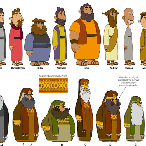 """Character Designs for """"What's In The Bible?"""""""