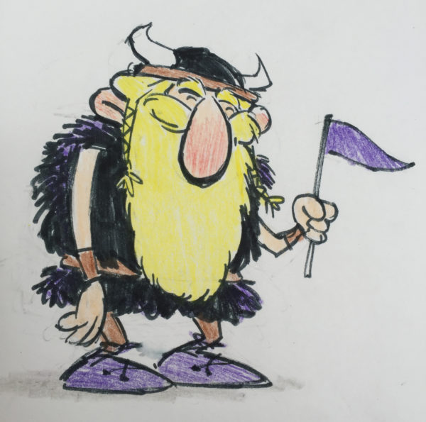 Color sketch by Cedric Hohnstadt of a cartoon viking waving a purple flag. Copyright © 2016, Cedric Hohnstadt. All rights reserved. https://www.cedricstudio.com