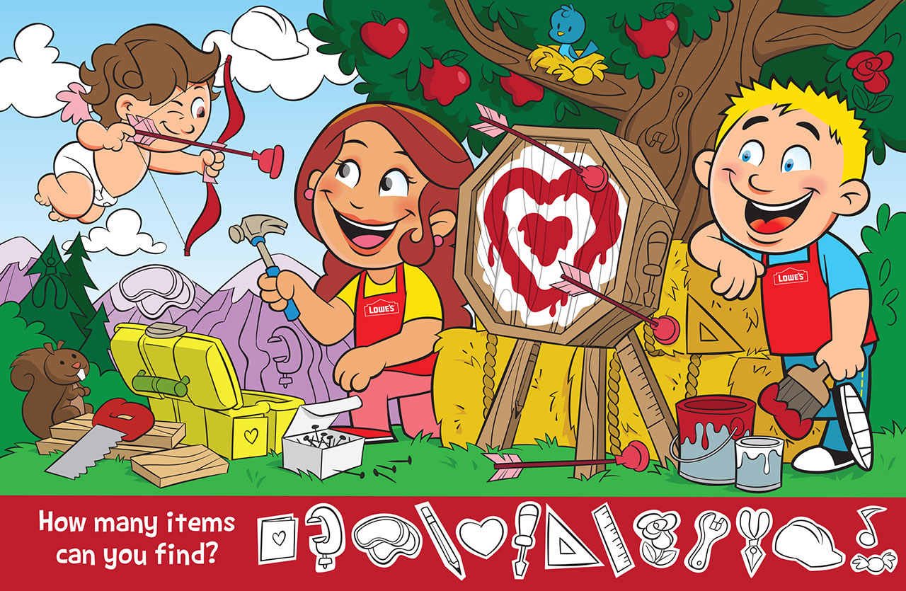 Valentine's Day Activity Illustration for Lowe's