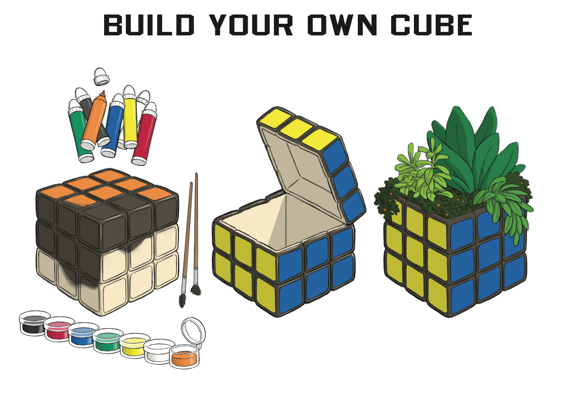 Smiley Rubik's Cube Ceramic Garden